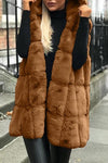 Sleeveless Hood Faux Fur Vest Coat