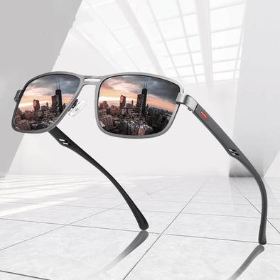 Polarized Sun Glasses Square Metal Frame Male