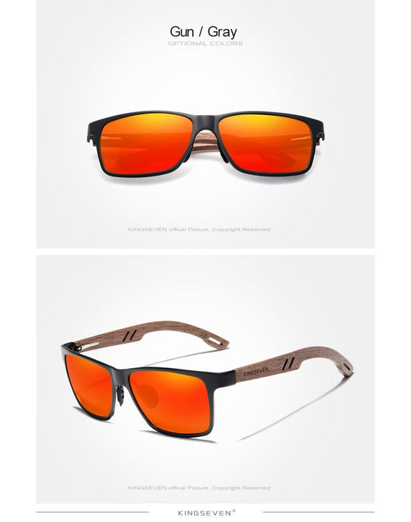 Aluminum+Walnut Wooden Sunglasses