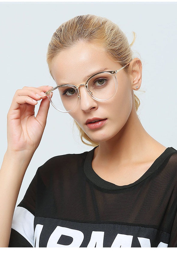 Multicolor Clear Round Frame Glasses