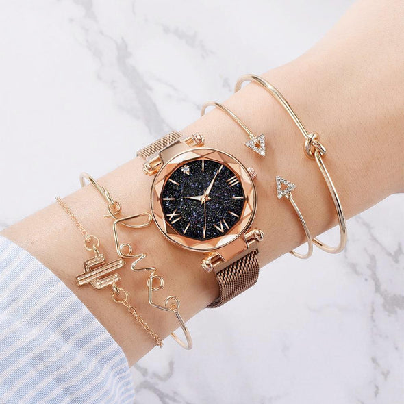 LVPAI - 5pcs Set Luxury Women Watches Magnetic Starry