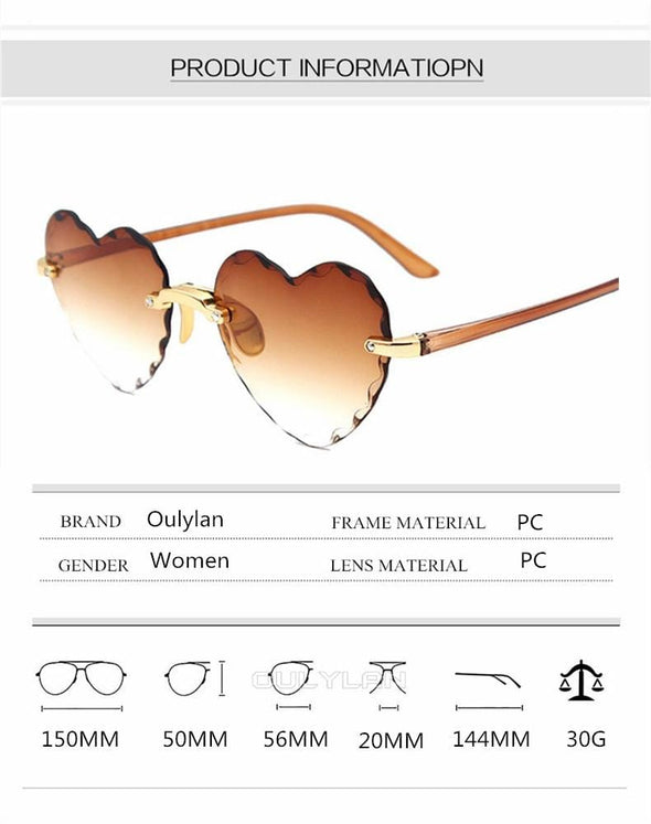 Rimless  Fashion Heart shaped Sun Glasses
