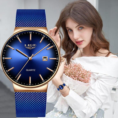 LIGE - Rose Gold Waterproof Women's Watch