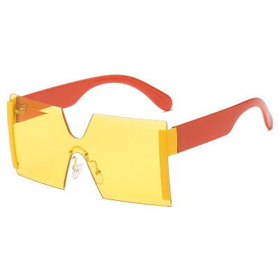 Fashion Oversized Square Rimless Sunglasses