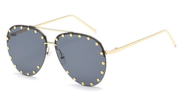 Vintage  Studded Decor Aviator Sunglasses