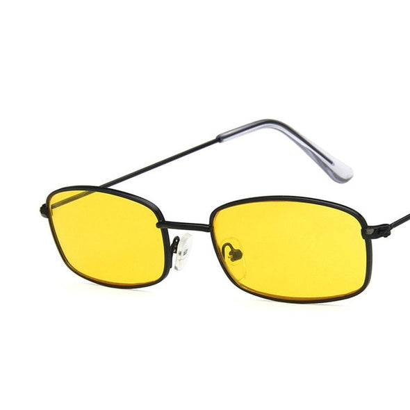 Men Women Retro Metal Frame Yellow Red Vintage Tiny Female Sun Glasses UV400