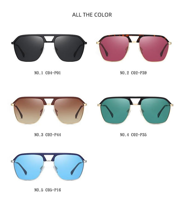 Rectangle Shades Men Fashion Polarized Sunglasses