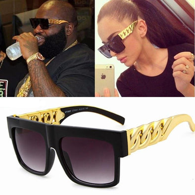 Fashion Gold Metal Chain Square Sun Glasses