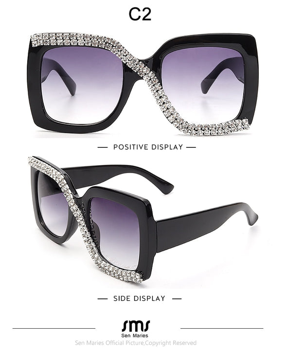 Diamond Square Sunglasses Women 2020 Luxury Vintage Oversized Sunglasses Unique One Piece Rhinestone Glasses Shades gafas de sol