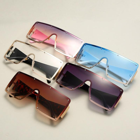 2021 New Square Sunglasses Women Fashion Oversized Metal Frame Vintage Glasses Men Shades Retro Gradient Colors Oculos UV400