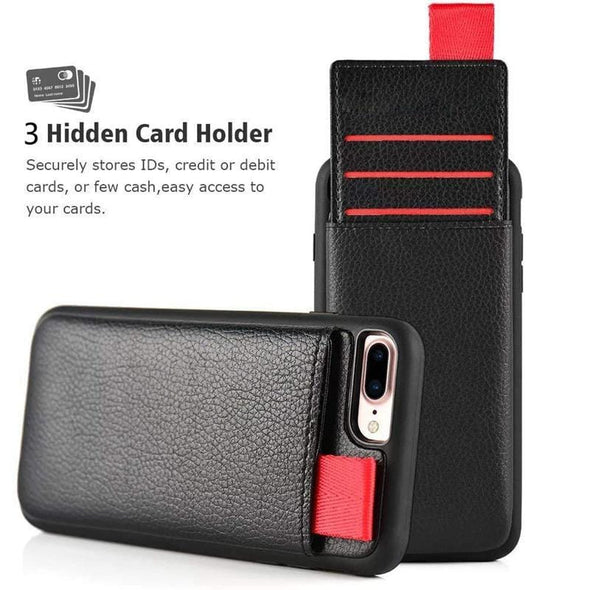 Card Wallet Leather Case for iPhone 12 11 XS Max XS XR Classic Card Slot Pull Pouch Cover for iPhone X 7 8 6 Plus Silicone Frame