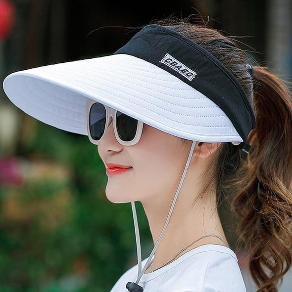 women summer sun visor wide-brimmed hat beach hat adjustable UV protection female cap  packable