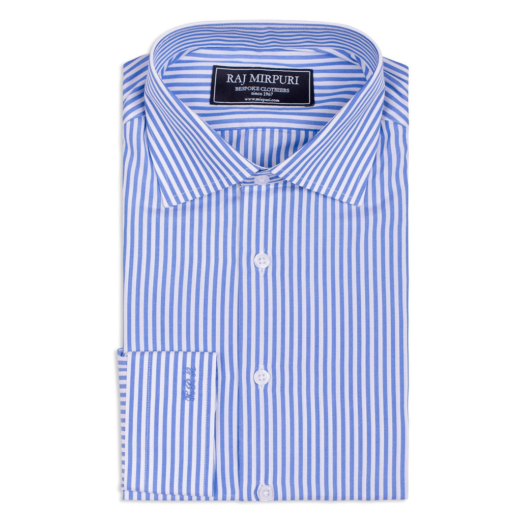 Bespoke - Blue & White Medium Striped Shirt