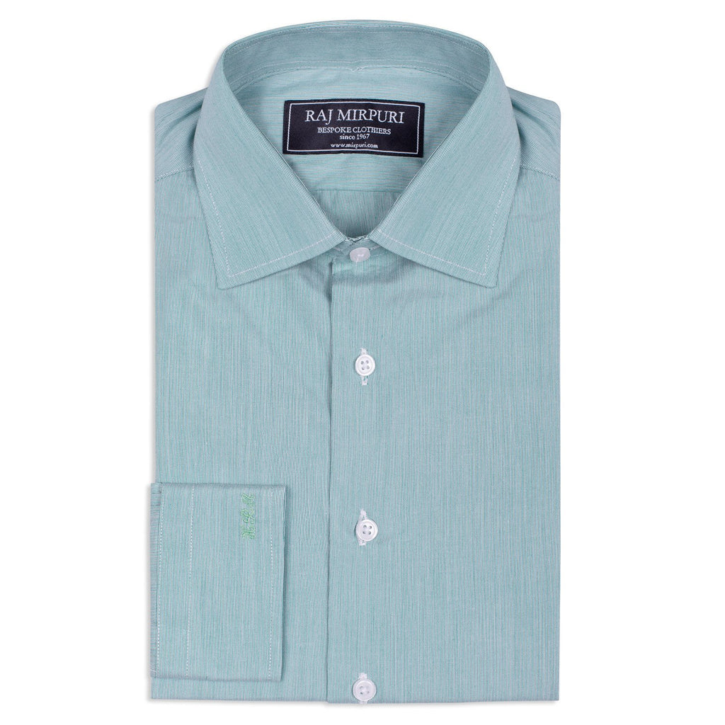 Bespoke - Green & White Hairline Striped Shirt