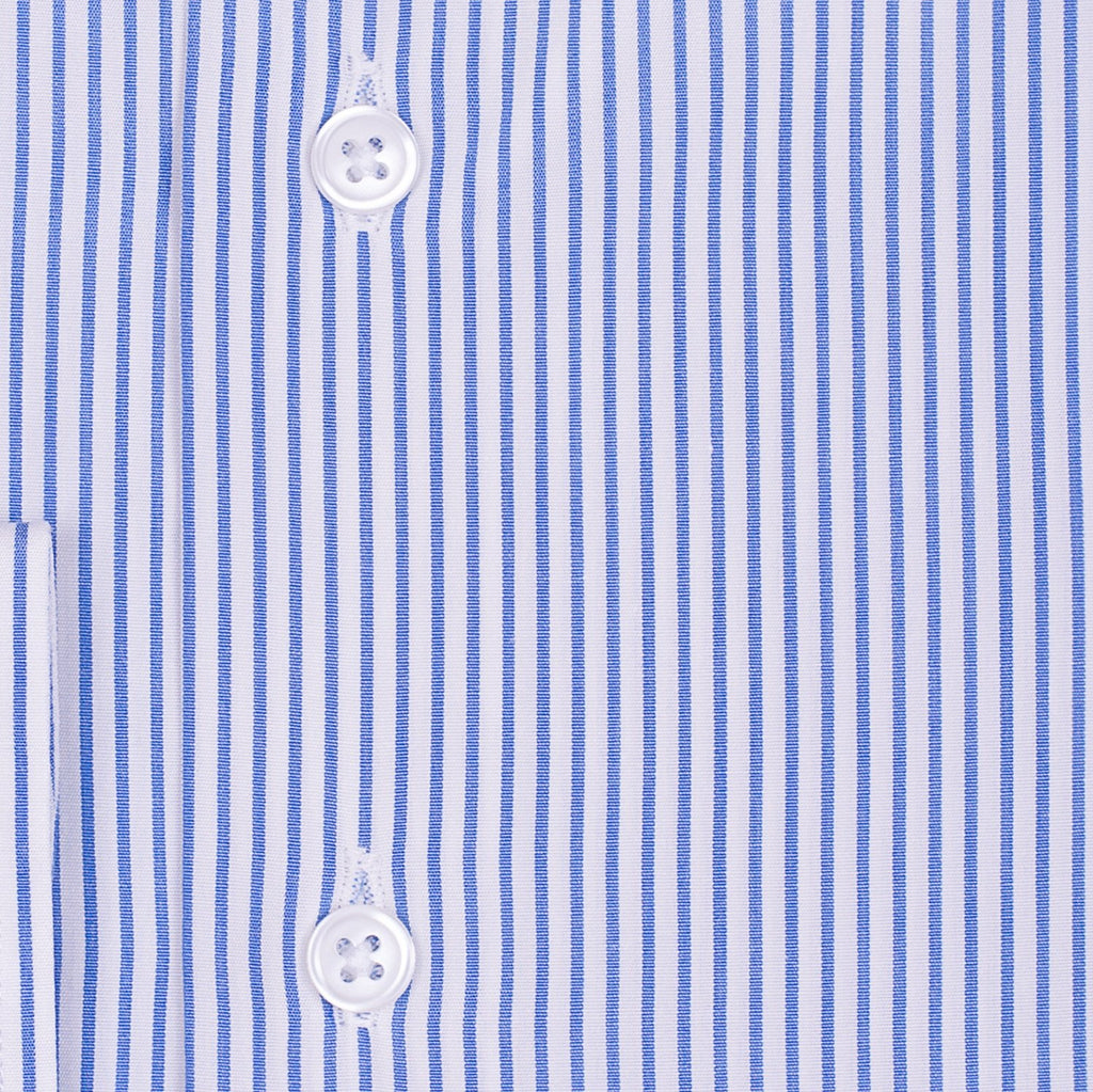 Bespoke - White & Blue Striped Shirt