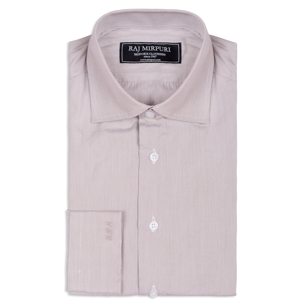 Bespoke - Grey & White Hairline Striped Shirt