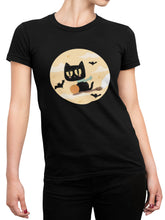 Load image into Gallery viewer, Black Witch Cat Tee - Women