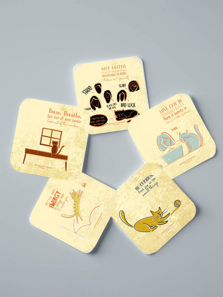 Life Lessons From Cats Part 1 - Set of 5 Coasters