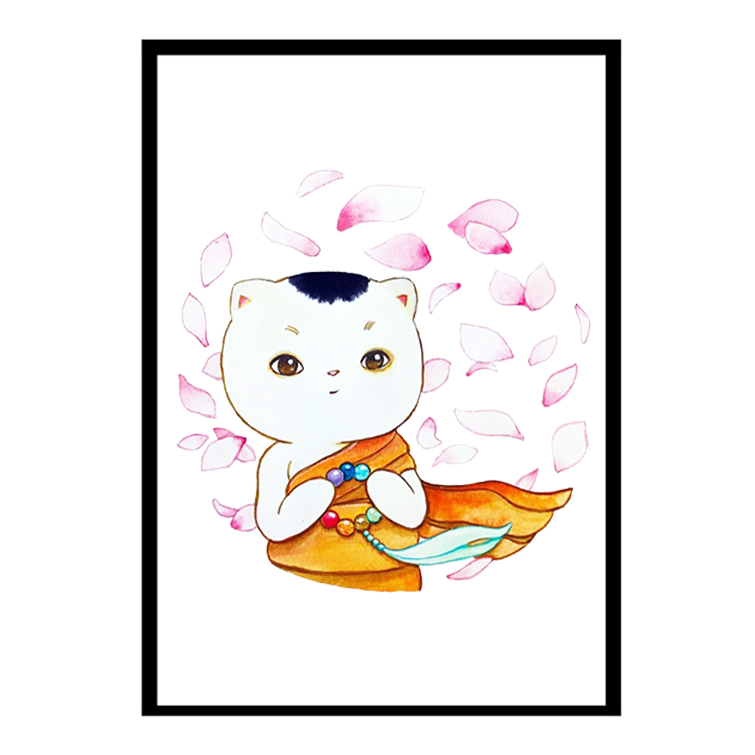 Monk Cat - Framed Poster - Curious Cat Company