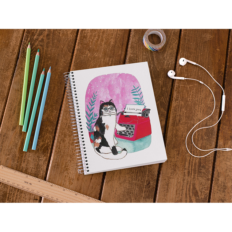 Typewriter Cat Notebook - Curious Cat Company