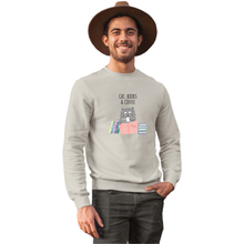 Load image into Gallery viewer, Cat, Books & Coffee Sweatshirt - Unisex