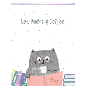 Cat, Books & Coffee Mug