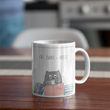 Load image into Gallery viewer, Cat, Books & Coffee Mug