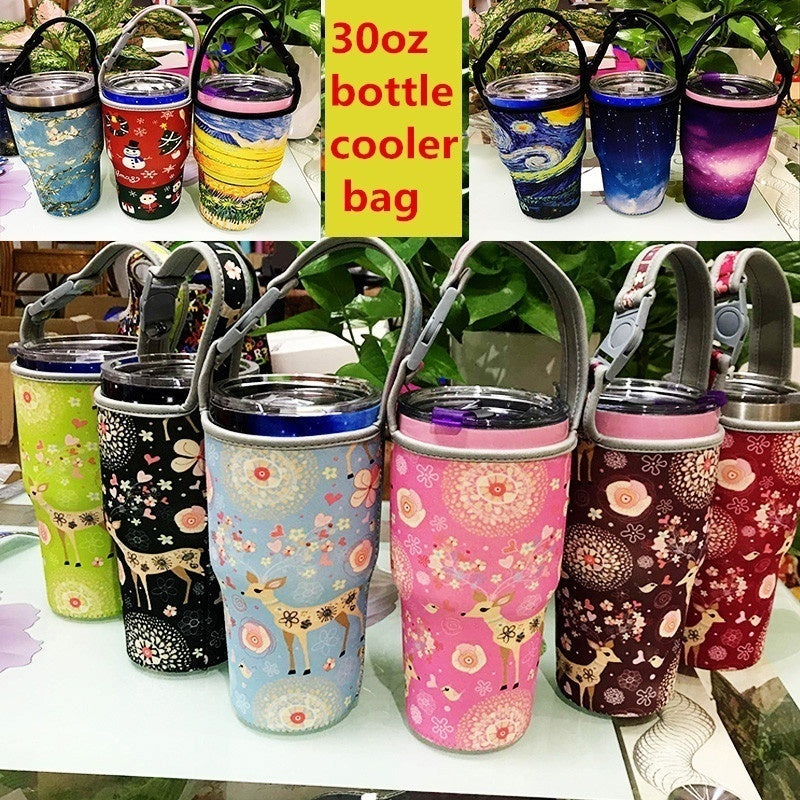 Insulated Neoprene Outdoor Travel Water  carrier  botter holder  Kettle Cooler Bag Pouch with Adjustable Shoulder Strap Suitable for thermos bottle