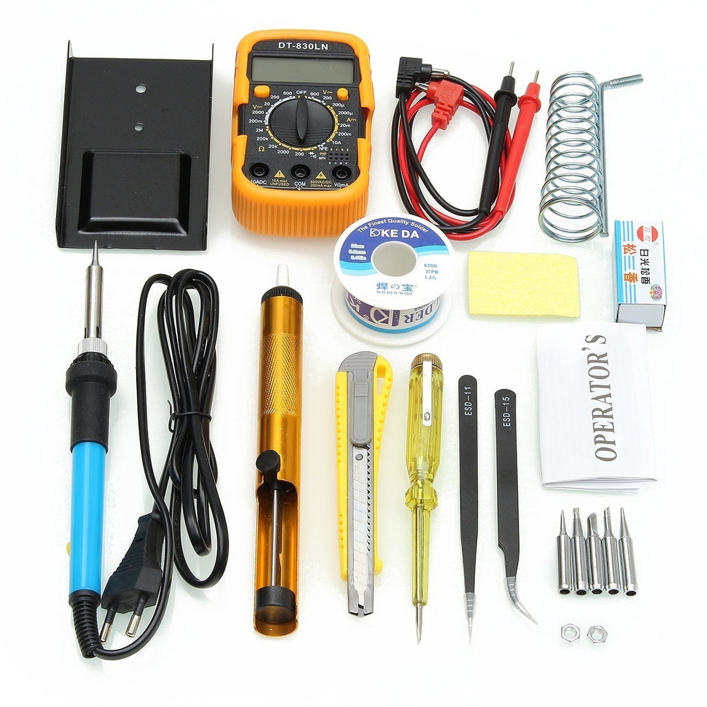 Pro 60W Electric Soldering Iron Multimeter Tool Set Adjustable Temperature Welding Kit with Kit Bag