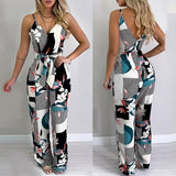 Women Fashion Spaghetti Strap Mixed Printing Jumpsuit Deep V-neck Sleeveless Jumpsuits Backless Wide Leg Macacao Feminino