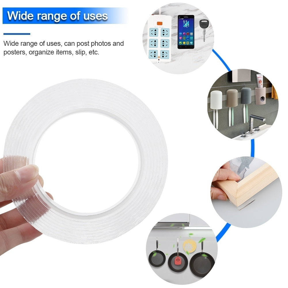 1/3/5M Portable Multifunctional Double-Sided Traceless Adhesive Tape Super Strong Nano PU Gel