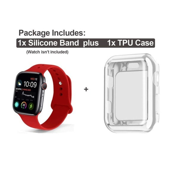 Soft Silicone Sport Strap Replacement Band with Screen Protector Cover Case Compatible with IWatch 38/40/42/44MM IWatch Series 1/2/3/4