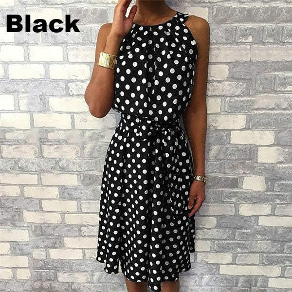 Fashion Women Round Neck Summer Polka Dot Printed Sleeveless Dress Ladies Casual Mid-length Plus Size Dress