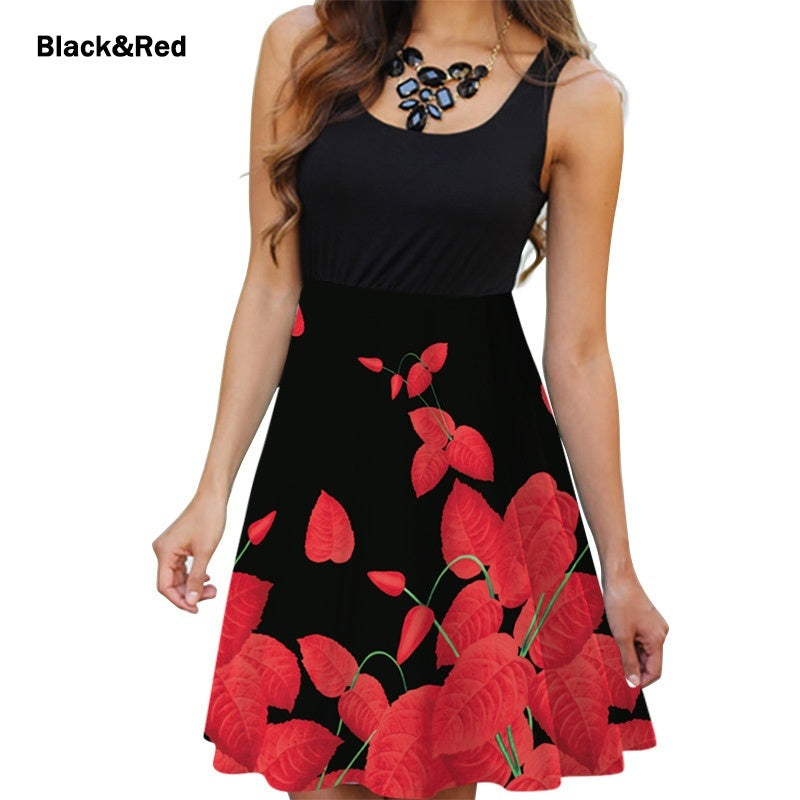 Summer Women Round Neck Dress Casual Sleeveless Dress Floral Printed Dress Slim Flower Dress