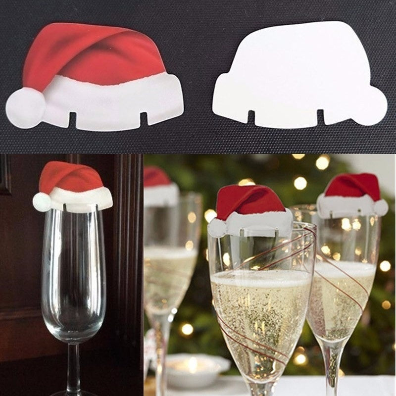60/40/20 Pcs Christmas Hat Red Wine Cup Card Christmas Hat Cup Card Decoration Christmas Wine Cup Sign