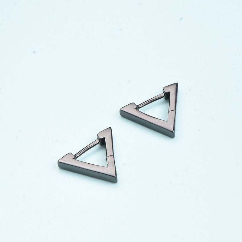 1 PC Personality Simple Male Earrings Black Geometric Triangle Earrings Single Earrings