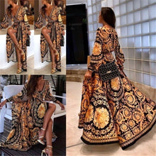 Load image into Gallery viewer, Women's Autumn Boho Long Sleeve Floral Split Long Maxi Dress Party Beach Sundress Evening Dresses