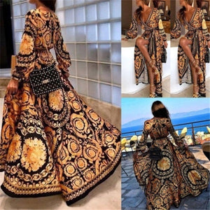 Women's Autumn Boho Long Sleeve Floral Split Long Maxi Dress Party Beach Sundress Evening Dresses