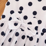 4-12 Years  Little Girls Summer Sleeveless Cotton Vintage Style Blue White Polka Dot Casual Dresses with Bowknot