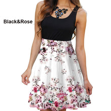 Load image into Gallery viewer, NEW Summer Women Round Neck Dress Casual Sleeveless Dress Floral Printed Dress Slim Flower Dress Plus Size
