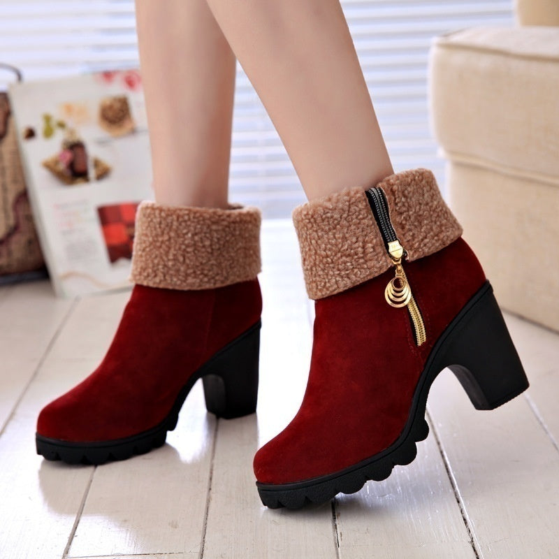 2019 New 2 Ways To Wear!!! Women's Suede Mid Calf & Ankle Boots Winter Warm Anti Slip Waterproof Chunky Heel Snow Boots