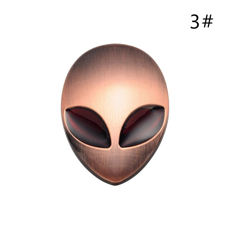 2019 Fashion Creative Metal Alien 3D Car Decals Waterproof Stereoscopic Metal Logo Stickers Personality Car Accessories