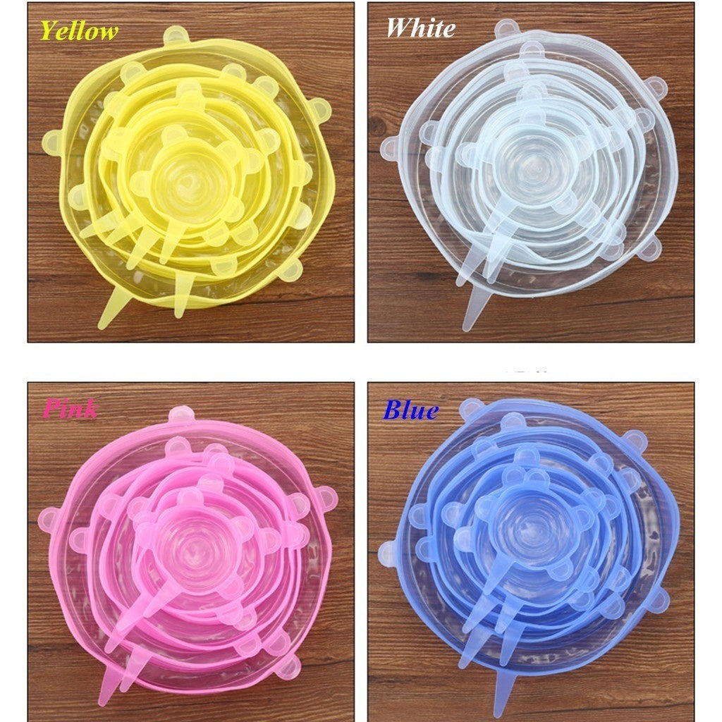 6 PIece Silicone Stretch Durable Expandable Food Fruit Cover for Bowl Dish Jar Food Container Fruits Refrigerator Accessories
