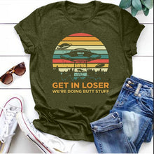 Load image into Gallery viewer, Plus Size Women Fashion Funny UFO 'GET IN LOSER' Print Tee Shirt Lady Teen Girl Casual Short Sleeve Shirt Comfy Alien UFO Print Bohemia Shirt Top