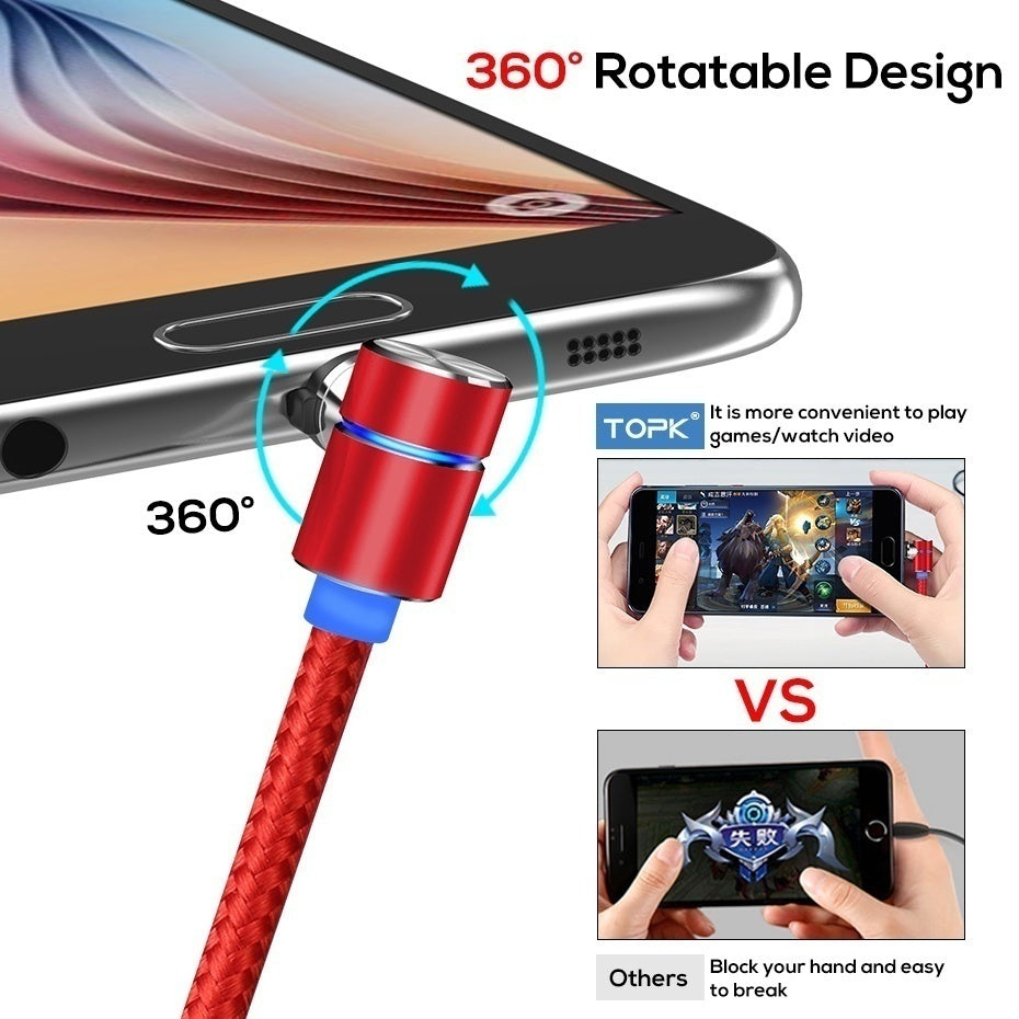 90 Degree LED Micro USB Cable Magnetic Charging Cable For IPhone Max Samsung Xiaomi USB Type C Magnet Charger USB C Cable Adapte