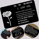 1PCS Engraved Wallet Card Love Note Metal Insert for Husband Boyfriend Families I Love You Wallet Creidt Card(Not Included Wallet)