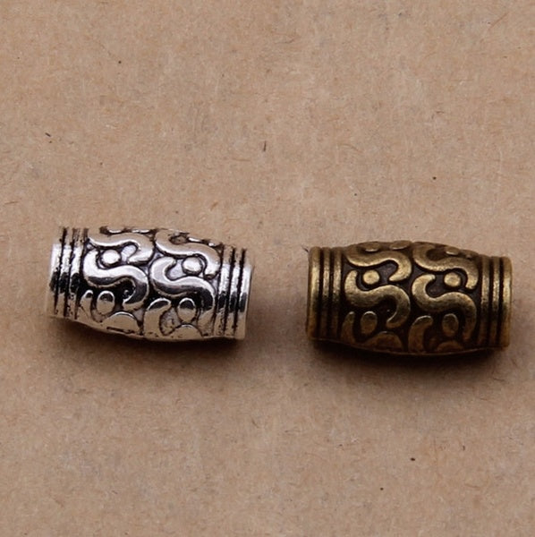 40pcs Size 11*5mm Antique Silver/Bronze Spacer Beads Tube Round Metal Big Hole Charm Beads for Bracelet DIY Jewelry Making