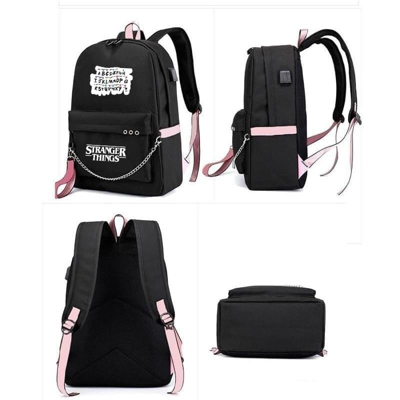 Stranger Things Backpack Women Girls Beautiful Backpack School Bag Travel Bag with USB Charging Port