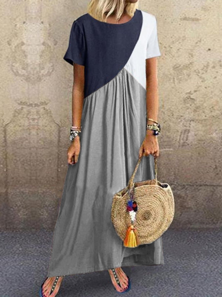 Women Short Sleeve Baggy Cotton Linen Maxi Dress Geometric Splicing Irregular Dresses Plus Size XS-5XL