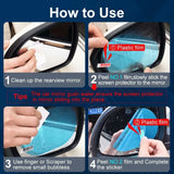 2 Pcs Car Rearview Mirror Protective Film Anti Fog Window Foils Rainproof Rear View Mirror Film Cover